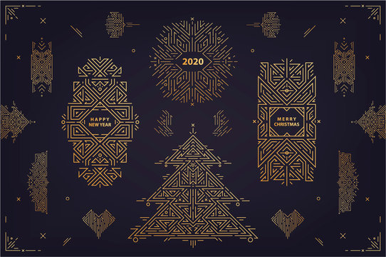 Vector set of linear christmas, new year geometric design elements, frames, borders. Use for poster, banner, card, party invitation. Art deco golden christmas tree illustration