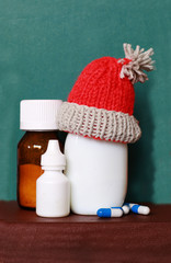 Nasal spray, nose drops, white plastic bottles for the treatment of runny nose