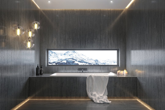 Big stone bathroom with view to the snowy mountains