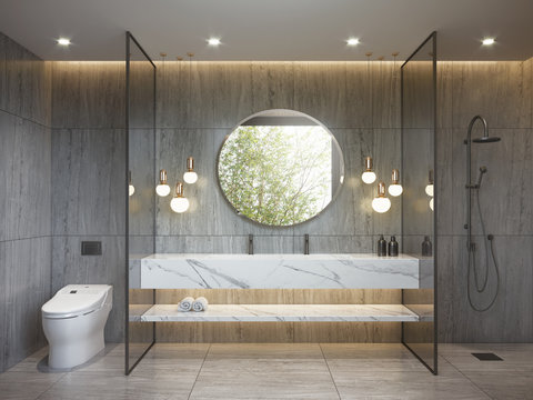 Modern bathroom with grey and white marble and hanging lamps