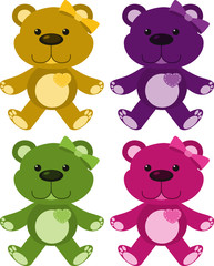 Set of four pictures of teddybears in different colors