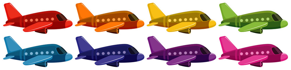 Set of jet plane in eight different colors