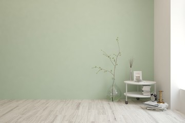 Empty room in green color with vase and modern table. Scandinavian interior design. 3D illustration