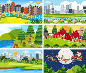 Papiers peints Vert chaux A set of outdoor scene including building
