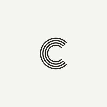 C logo. Abstract letter C logo design. Line creative symbol. Logo branding. Universal vector icon - Vector