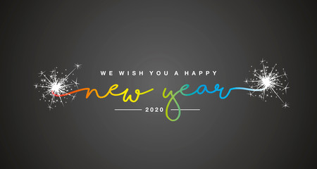 Happy New Year 2020 handwritten lettering tipography sparkle firework rainbow colorful white black background