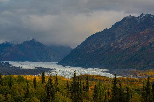 Matanuska glacier during fall season in Alaska