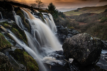 loup of fintry, central scotland, waterfall on the River Endrick in the County of Stirling