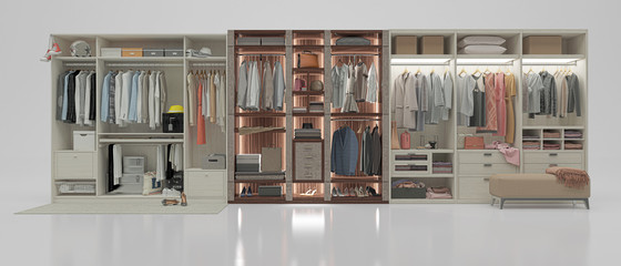 Wardrobe with clothes, shoes and boxes, 3d illustration, 3d rendering