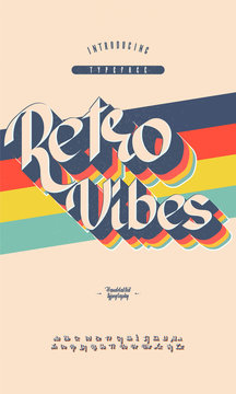 Vector of bold retro font and alphabet. Font with retro colorful layers. Vector illustration.