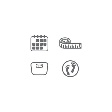 Age, weight, height, shoe number vector icon set