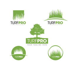 Turf Lawn And Garden Care Company Creative Design Element. Vector Grass And Tree Icon Set For Landscaping Company