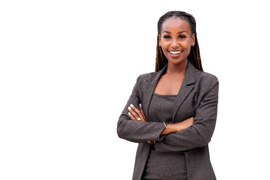 Portrait of a happy African American female company leader, CEO, boss, executive, isolated on white background