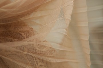 Beige Tulle Fabric. Transparent skirt