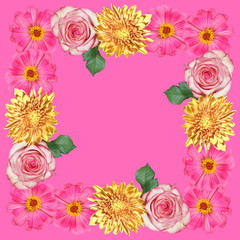 Wall Mural - Beautiful floral pattern of zinnia, roses and chrysanthemums. Isolated