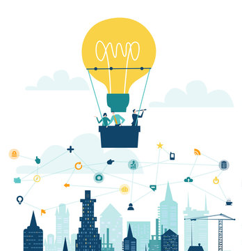 Business people flying with ant hot air balloon shaped as light bulb. Start up, new business, new idea and advisory concept