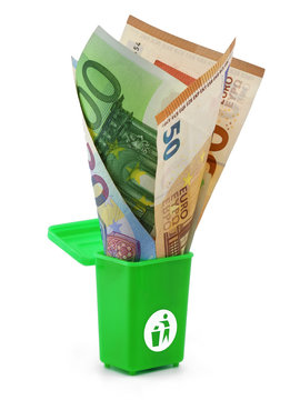 Euro banknotes in a green dust bin isolated on white background, concept of money wasting