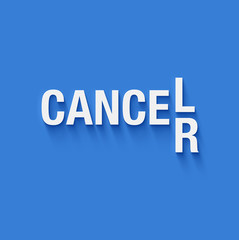 cancel cancer in white letters on blue background
