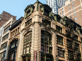 New York street view with modern and old historic buildings