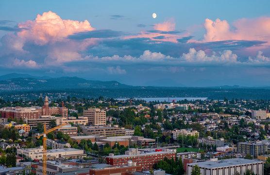 Suburbs of Seattle in sunrise light, WA