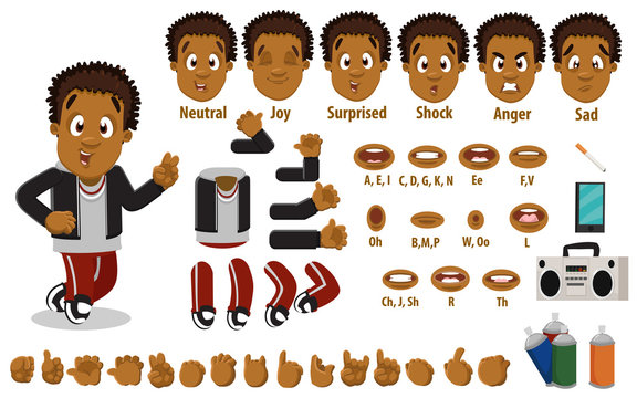 Cartoon afro-american guy constructor for animation. Parts of body, set of poses, objects.