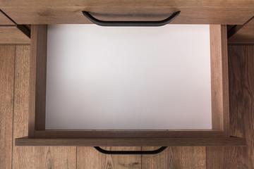 Fototapeta Top view of empty open wooden drawer obraz