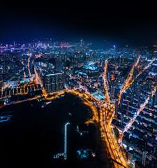 Fotomurales - cyperpunk cityscape of urban area, Hong Kong