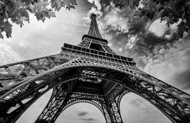 Ingelijste posters Eiffeltoren Eiffel Tower in Paris France with Golden Light Rays. Black and White Photography