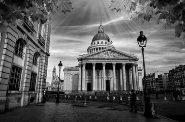 Pantheon In Latin Quartier, Paris France Black and White Photography