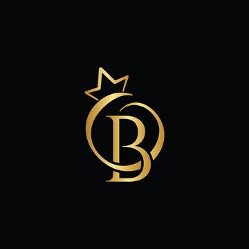 Gold creative letter B logo design template vector EPS
