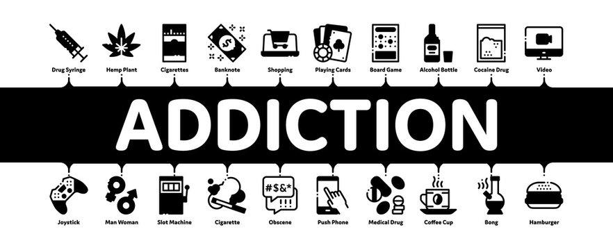 Addiction Bad Habits Minimal Infographic Web Banner Vector. Alcohol And Drug, Shopping And Gambling, Hemp, Smoking And Junk Food Addiction Illustrations