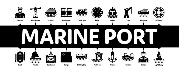 Marine Port Transport Minimal Infographic Web Banner Vector. Port Dock And Harbor, Lighthouse And Anchor, Captain And Sailor, Crane And Ship Concept Illustrations