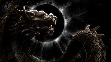A mighty Chinese dragon with a wriggling scaly body soars against a sinister black and white eclipse. 2d illustration.