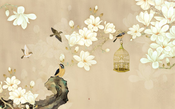 3d illustration, beige background, white magnolia flowers on a branch, birds