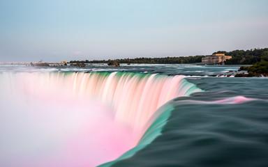 Niagara Falls on Canada side after sunset with colorful lighting , Niagara , Canada
