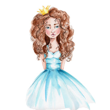 Pretty princess in blue dress and yellow crown; watercolor hand draw illustration; with white isolated background