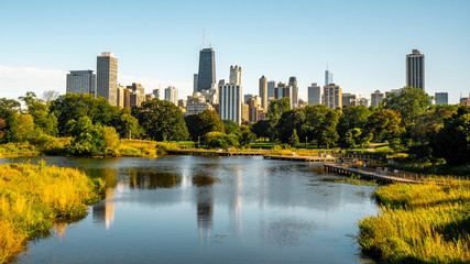 Photo sur Toile Chicago Lincoln park , One of the biggest and most beautiful park in Chicago before sunset , Illinois , United States of America