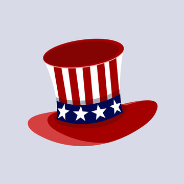 Patriotic American top hat in the red, white and blue colours of the Stars and Stripes at a jaunty angle on a white background.