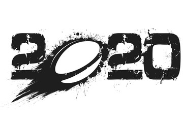 Abstract numbers 2020 and rugby ball from blots