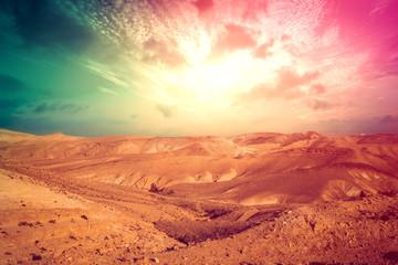 Türaufkleber Koralle Mountainous desert with colorful cloudy sky. Judean desert, Israel