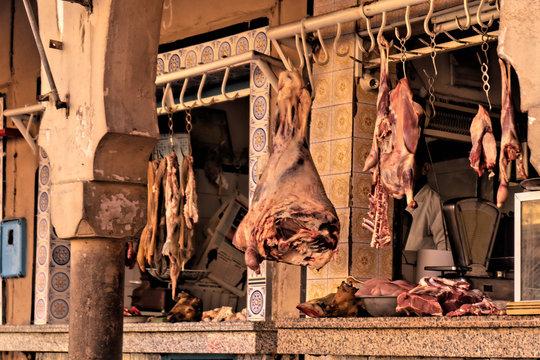 butcher shop in the medina of Tiznit