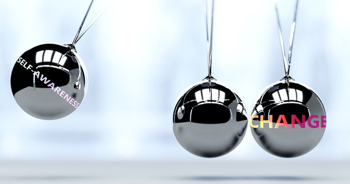 Self awareness and New Year's change - pictured as word Self awareness and a Newton cradle, to symbolize that Self awareness can change life for better, 3d illustration