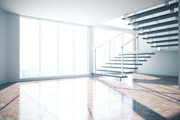 Empty interior with stairs