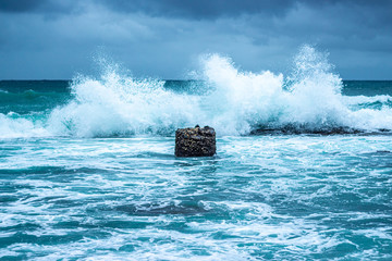 Waves crashing on the rocks along the Ballito coastline in South Africa