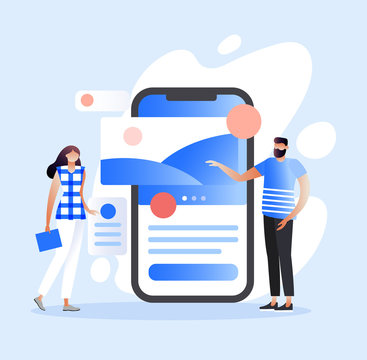 Mobile app development concept with characters. UI/UX design. Testing the interface and usability of app. Can use for web banner, infographics, hero images. Flat isometric illustration