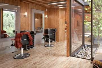 Hair Salon Designed in Wood (3d illustration)