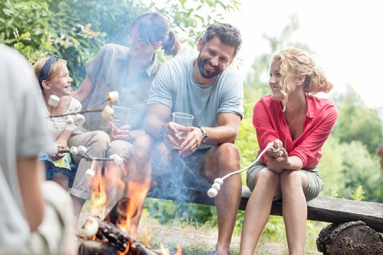Happy family sitting with woman while roasting marshmallows over burning campfire at park