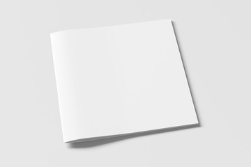 Square brochure or booklet cover mock up on white. Isolated with clipping path around brochure. Side view. 3d illustratuion