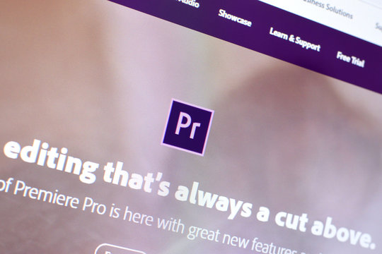 Web page of adobe premiere product on official website on the display of PC