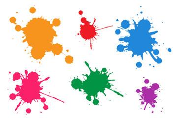 Vector illustration set of colorful ink blots